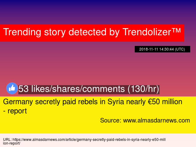 Germany secretly paid rebels in Syria nearly €50 million - report - Stats fc9d2f667